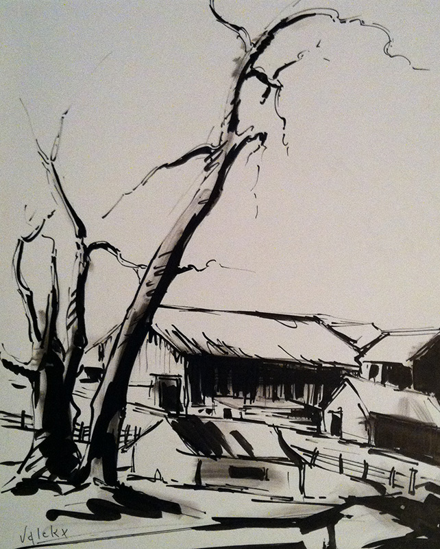 Houses and Trees in Winter