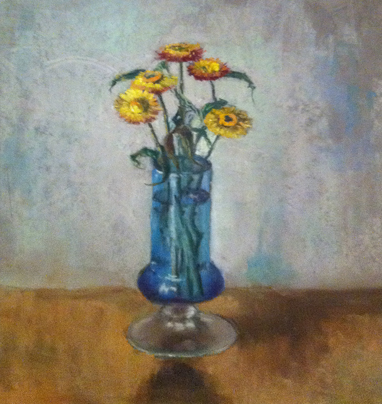 Blue Vase With Straw Flowers