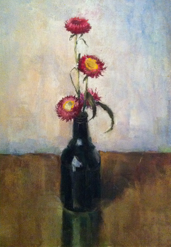 Straw Flowers In Dark Bottle